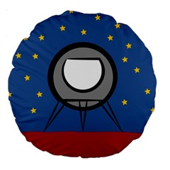 A Rocket Ship Sits On A Red Planet With Gold Stars In The Background Large 18  Premium Round Cushions