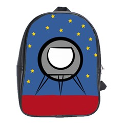 A Rocket Ship Sits On A Red Planet With Gold Stars In The Background School Bags (XL)