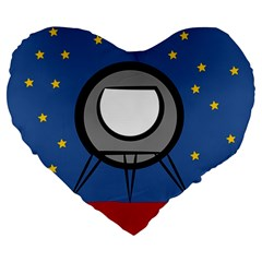 A Rocket Ship Sits On A Red Planet With Gold Stars In The Background Large 19  Premium Heart Shape Cushions