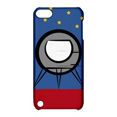 A Rocket Ship Sits On A Red Planet With Gold Stars In The Background Apple iPod Touch 5 Hardshell Case with Stand