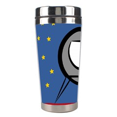 A Rocket Ship Sits On A Red Planet With Gold Stars In The Background Stainless Steel Travel Tumblers