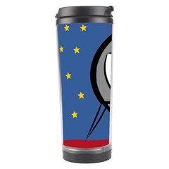 A Rocket Ship Sits On A Red Planet With Gold Stars In The Background Travel Tumbler