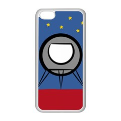 A Rocket Ship Sits On A Red Planet With Gold Stars In The Background Apple iPhone 5C Seamless Case (White)
