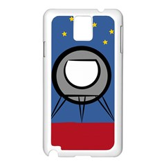 A Rocket Ship Sits On A Red Planet With Gold Stars In The Background Samsung Galaxy Note 3 N9005 Case (White)