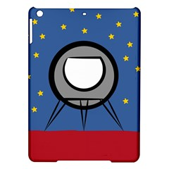 A Rocket Ship Sits On A Red Planet With Gold Stars In The Background iPad Air Hardshell Cases