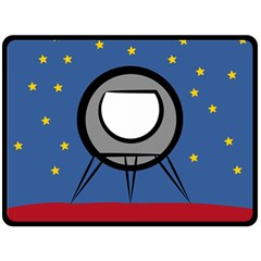 A Rocket Ship Sits On A Red Planet With Gold Stars In The Background Double Sided Fleece Blanket (Large)