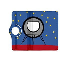 A Rocket Ship Sits On A Red Planet With Gold Stars In The Background Kindle Fire HDX 8.9  Flip 360 Case