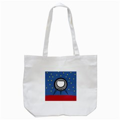 A Rocket Ship Sits On A Red Planet With Gold Stars In The Background Tote Bag (white)