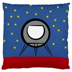 A Rocket Ship Sits On A Red Planet With Gold Stars In The Background Large Flano Cushion Case (One Side)