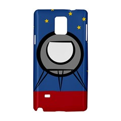 A Rocket Ship Sits On A Red Planet With Gold Stars In The Background Samsung Galaxy Note 4 Hardshell Case