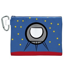 A Rocket Ship Sits On A Red Planet With Gold Stars In The Background Canvas Cosmetic Bag (xl)
