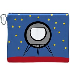 A Rocket Ship Sits On A Red Planet With Gold Stars In The Background Canvas Cosmetic Bag (XXXL)
