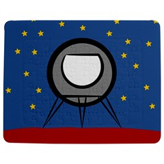 A Rocket Ship Sits On A Red Planet With Gold Stars In The Background Jigsaw Puzzle Photo Stand (rectangular)