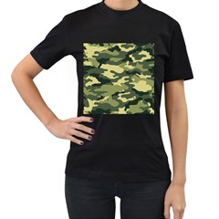 Camouflage Camo Pattern Women s T-Shirt (Black) (Two Sided)
