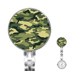 Camouflage Camo Pattern Stainless Steel Nurses Watch