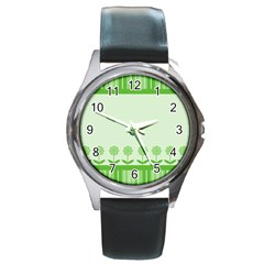 Floral Stripes Card In Green Round Metal Watch