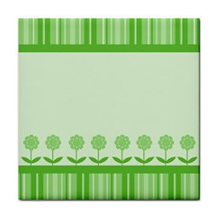 Floral Stripes Card In Green Tile Coasters