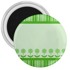 Floral Stripes Card In Green 3  Magnets
