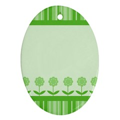 Floral Stripes Card In Green Ornament (oval)
