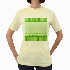 Floral Stripes Card In Green Women s Yellow T Shirt