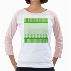 Floral Stripes Card In Green Girly Raglans