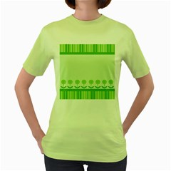 Floral Stripes Card In Green Women s Green T Shirt