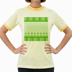 Floral Stripes Card In Green Women s Fitted Ringer T Shirts