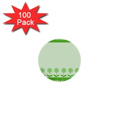 Floral Stripes Card In Green 1  Mini Buttons (100 pack)