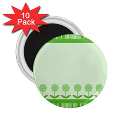 Floral Stripes Card In Green 2.25  Magnets (10 pack)