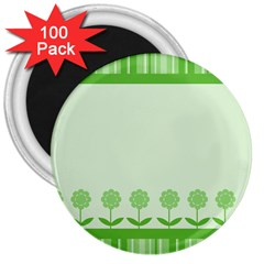 Floral Stripes Card In Green 3  Magnets (100 Pack)