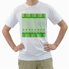 Floral Stripes Card In Green Men s T-Shirt (White) (Two Sided)