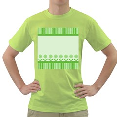 Floral Stripes Card In Green Green T-Shirt