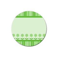 Floral Stripes Card In Green Magnet 3  (Round)