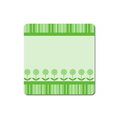 Floral Stripes Card In Green Square Magnet