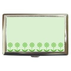 Floral Stripes Card In Green Cigarette Money Cases
