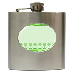 Floral Stripes Card In Green Hip Flask (6 Oz)