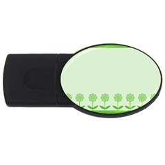Floral Stripes Card In Green USB Flash Drive Oval (1 GB)