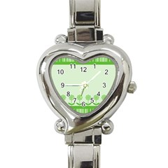 Floral Stripes Card In Green Heart Italian Charm Watch