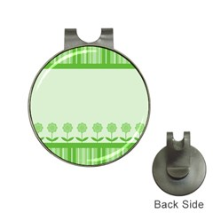 Floral Stripes Card In Green Hat Clips with Golf Markers