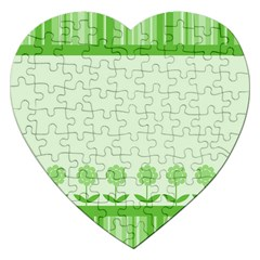 Floral Stripes Card In Green Jigsaw Puzzle (Heart)