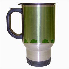 Floral Stripes Card In Green Travel Mug (Silver Gray)