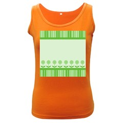 Floral Stripes Card In Green Women s Dark Tank Top