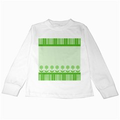 Floral Stripes Card In Green Kids Long Sleeve T-Shirts