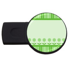 Floral Stripes Card In Green USB Flash Drive Round (4 GB)
