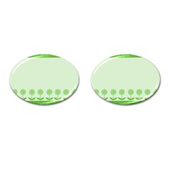 Floral Stripes Card In Green Cufflinks (Oval)