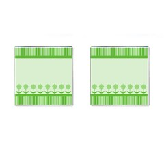 Floral Stripes Card In Green Cufflinks (Square)