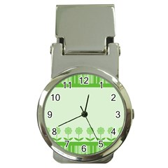 Floral Stripes Card In Green Money Clip Watches