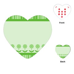 Floral Stripes Card In Green Playing Cards (Heart)