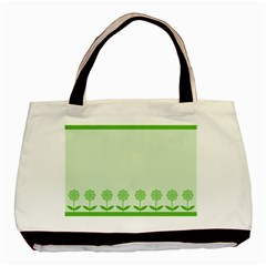 Floral Stripes Card In Green Basic Tote Bag
