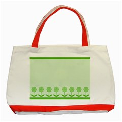 Floral Stripes Card In Green Classic Tote Bag (red)
